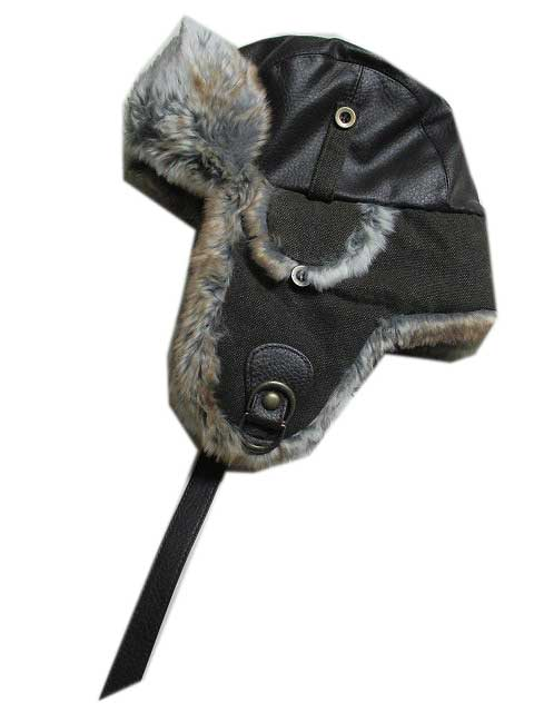 WOOLRICHウールリッチMen's Faux Leather & Canvas Trooper Hat