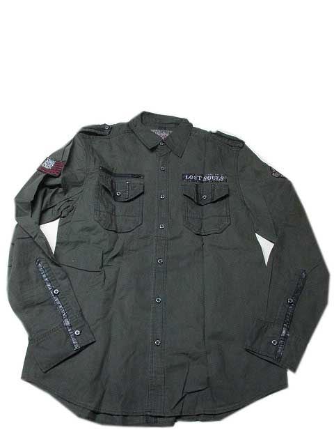 AFFLICTION/アフリクションCHILL RIVER ミリタリーシャツ OLIVE