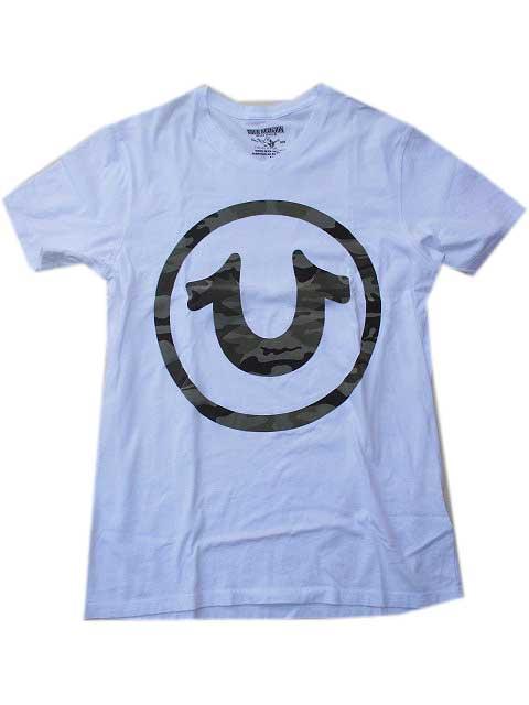 True ReligionトゥルーレリジョンCAMO HORSESHOE VネックTシャツ white