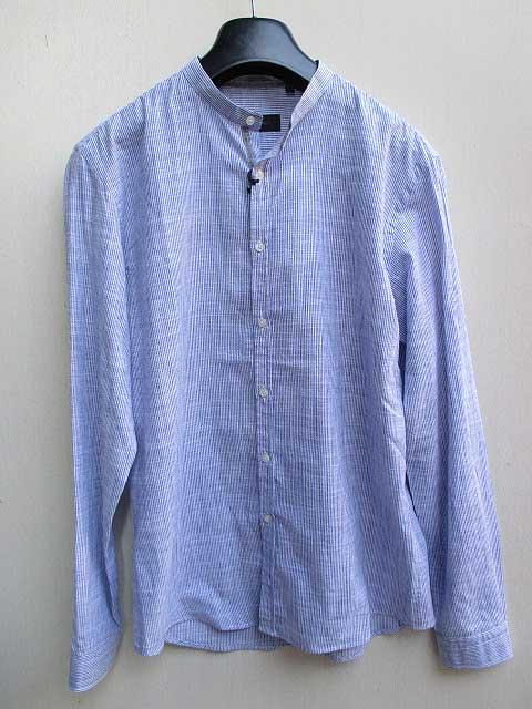 SSEINSEセンス襟なしリネンシャツ blueストライプ