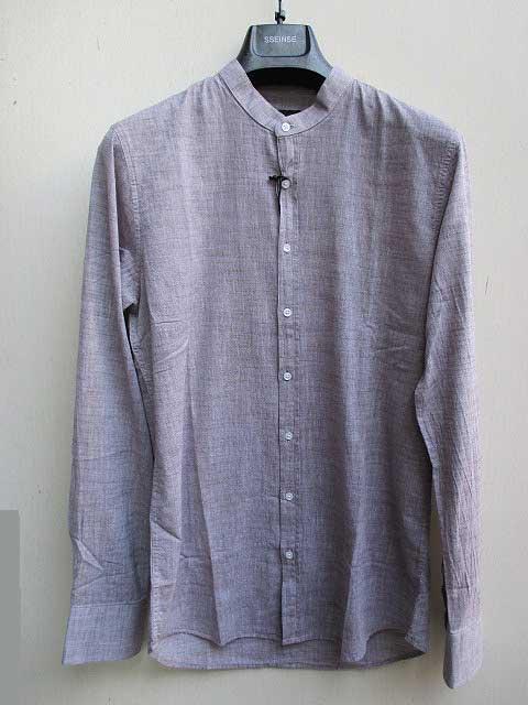 SSEINSEセンス襟なしリネンシャツ beige