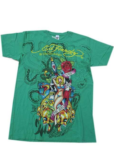 ED HARDY /エドハーディー 【BIG SIZE Lサイズ / GREEN】ラインストーン T-SHIRT 半袖エドハーディー Tシャツ  ビンテージタトゥーウエア