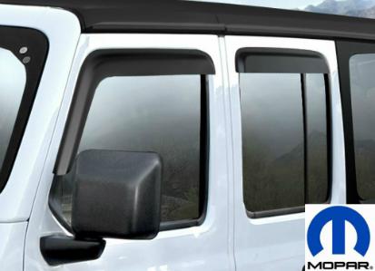 アメ車 ジープ 海外直送品 評価 送料無料MOPAR モパー ドアバイザー両面テープで取り付け ラングラー4枚セット フロントx2 リアx2 純正 新型ラングラー用 MOPAR 激安通販販売 4枚セット ドアバイザー JEEP JL ウィンドディフレクター