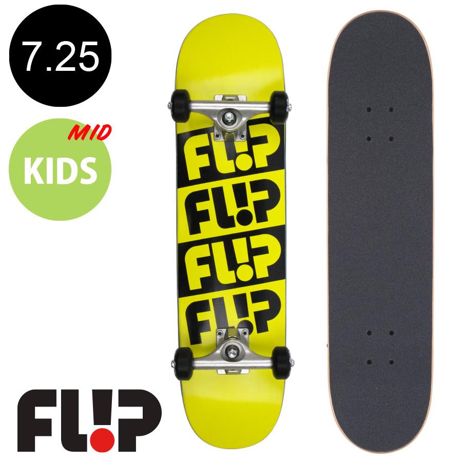 【FLIP フリップ】7.25in x 29.9in ODYSSEY QUATTRO YELLOW MID COMPLETEコンプリートデッキ(完成組立品)※9~12歳前後推奨 スケートボード エントリーモデル(初心者 子供用におすすめ)スケボー 【1807】