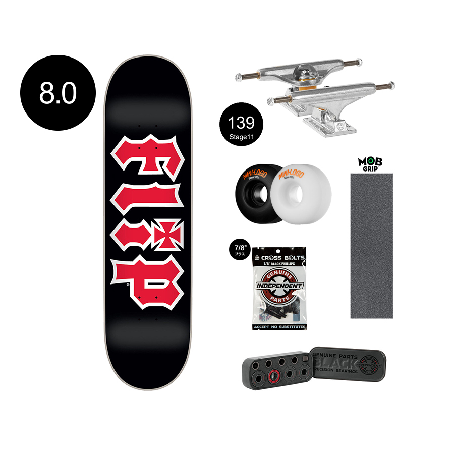 【FLIP フリップ】Team HKD Black Regular 8.0×31.50inch Completeアメストオリジナルコンプリートデッキ(完成組立品)INDEPENDENT TRUCK139 MINILOGO WHEEL52mm101A MOB GRIP スケートボード スケボー ストリート sk8 skateboard 良品