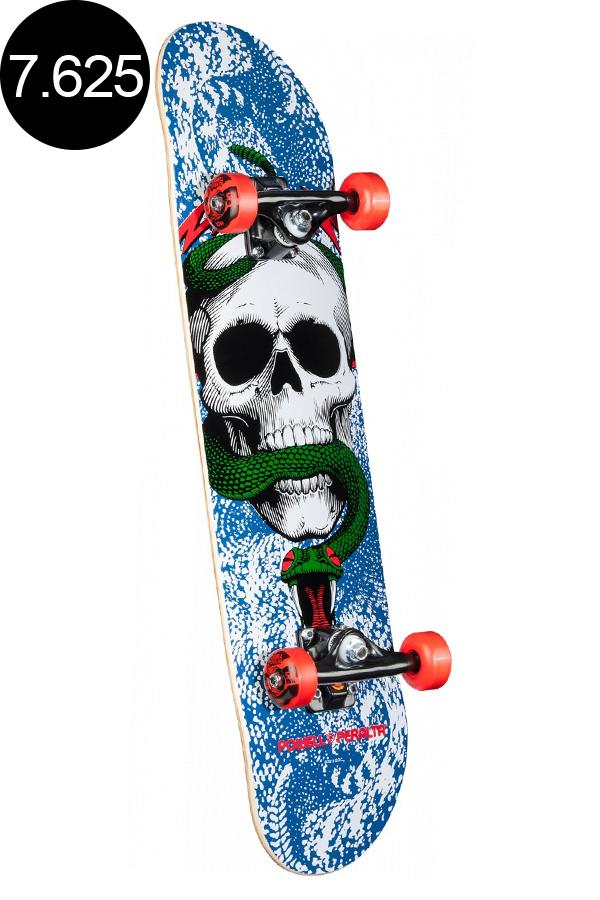 【POWELL PERALTA パウエル・ペラルタ】7.625in x 31.625in SKULL AND SNAKE ONE OFF BLUE/RED COMPLETEコンプリートデッキ(完成組立品)スケートボード エントリーモデル(初心者にもおすすめ)スケボー skateboard sk8【1710】