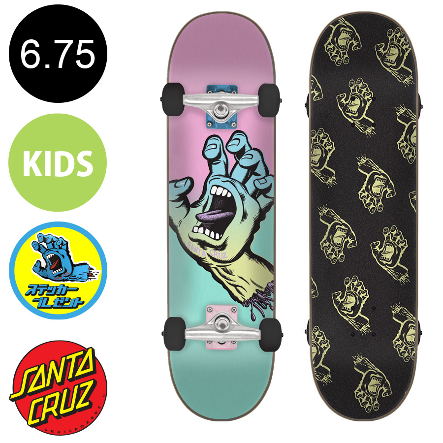 【SANTA CRUZ サンタクルーズ】6.75in x 28.5in PASTEL SCREAMING HAND MICRO COMPLETEコンプリートデッキ(完成組立品)※5歳前後推奨 スケートボード エントリーモデル(初心者 子供用におすすめ)スケボー sk8 skateboard【1802】