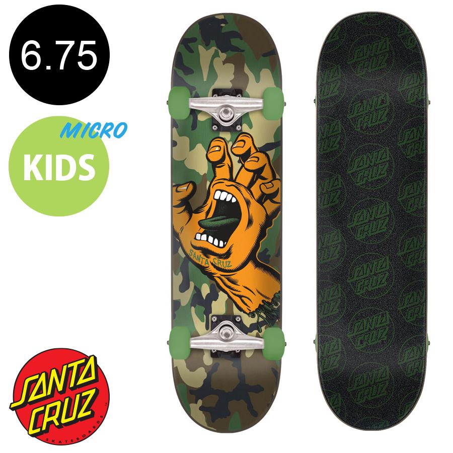 【SANTA CRUZ サンタクルーズ】6.75in x 28.5in SCREAMING HAND CAMO MICRO COMPLETEコンプリートデッキ(完成組立品)※5歳前後推奨 スクリーミングハンド スケートボード (初心者 子供用におすすめ)スケボー sk8 skateboard【1805】