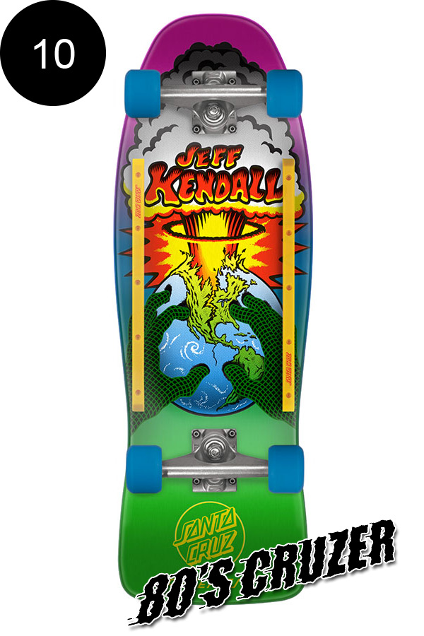 【SANTA CRUZ サンタクルーズ】10in x 29.7in KENDALL END OF THE WORLD 80'S CRUZERクルーザー コンプリート(完成組立品) ジェフ・ケンダル オールドスクール スケートボード KRUX レール付 ロングボード オフトレ スケボー sk8 skateboard【1805】