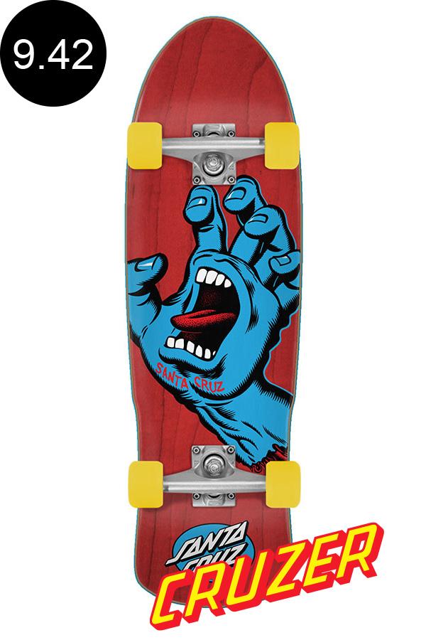 【SANTA CRUZ サンタクルーズ】9.42in x 31.88in SCREAMING HAND RED 80'S CRUZERクルーザー コンプリート(完成組立品) スクリーミングハンド オールドスクール スケートボード KRUX ロングボード オフトレ スケボー skateboard【2006】