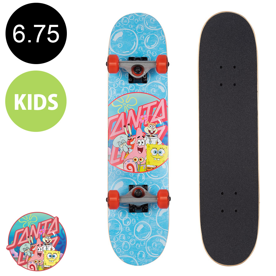【SANTA CRUZ サンタクルーズ】6.75in x 28.5in SPONGEBOB SPONGEGROUP COMPLETEコンプリートデッキ(完成組立品)※5歳前後推奨 スポンジボブ スクエアパンツ スケートボード (初心者 子供用におすすめ)スケボー sk8 skateboard【1911】