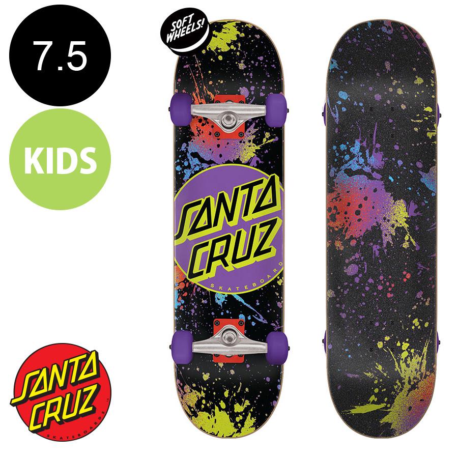 【SANTA CRUZ サンタクルーズ】7.5in x 28.25in DOT SPLATTER SK8 COMPLETE※7~10歳前後推奨 コンプリート(完成組立品) スケートボード(初心者にもおすすめ)かわいい 初めて スケボー ストリート sk8 skateboard【2007】