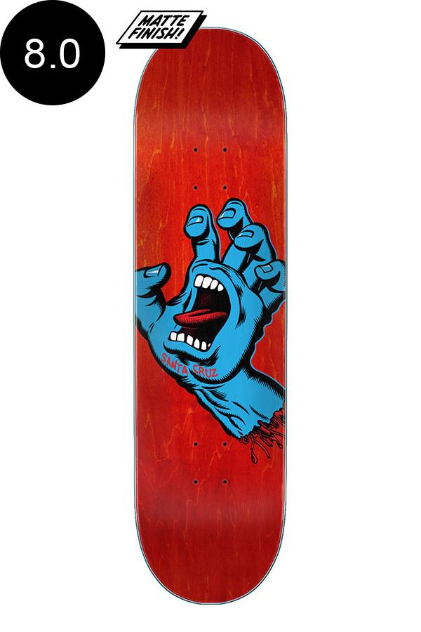 【SANTA CRUZ サンタクルーズ】8.0in x 31.62in SCREAMING HAND RED TEAM DECKデッキ スクリーミングハンド 定番 オススメ 初心者 スケートボード スケボー ストリート sk8 skateboard【2007】