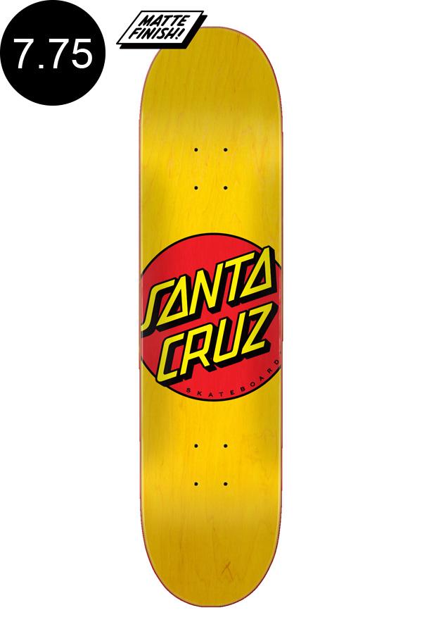 【SANTA CRUZ サンタクルーズ】7.75in x 31.61in CLASSIC DOT YELLOW TEAM DECKデッキ クラシックドット 定番 オススメ 初心者 スケートボード スケボー ストリート sk8 skateboard【2007】