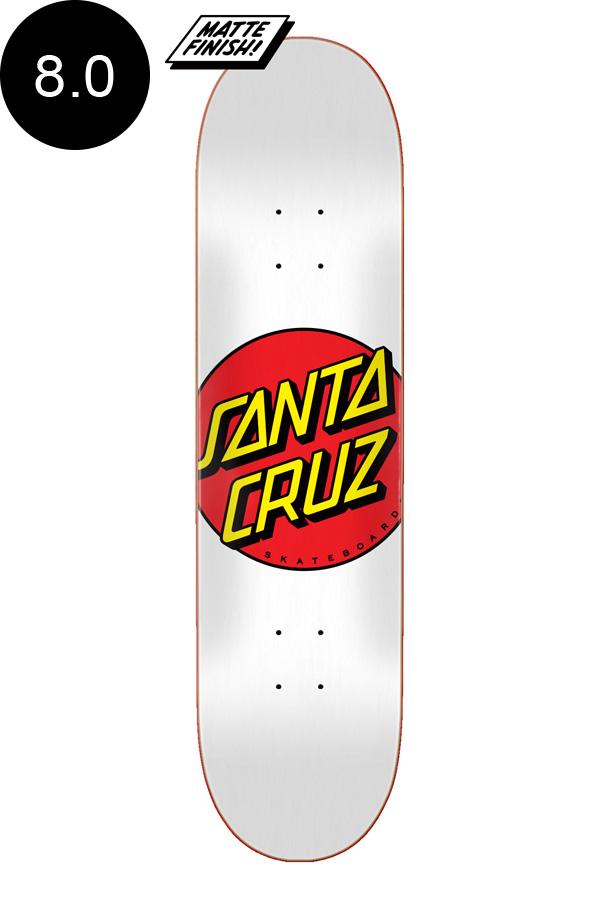 【SANTA CRUZ サンタクルーズ】8.0in x 31.62in CLASSIC DOT WHITE TEAM DECKデッキ クラシックドット 定番 オススメ 初心者 スケートボード スケボー ストリート sk8 skateboard【2007】