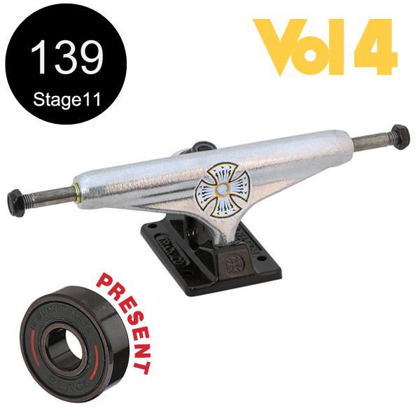 【INDEPENDENT インディペンデント】139 VOLUME 4 SILVER BLACK TRUCKS(Stage11)トラック ヴォリューム4 シルバー/ブラック スケートボード スケボー sk8 skateboard2個セット【1608】