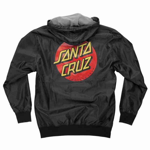 【SANTA CRUZ サンタクルーズ】DOT HOODED WINDBREAKER MENS BLACKジャケット ブラック フード ウインドブレーカー スケートボード スケボー sk8 skateboard【18FW】(CP)