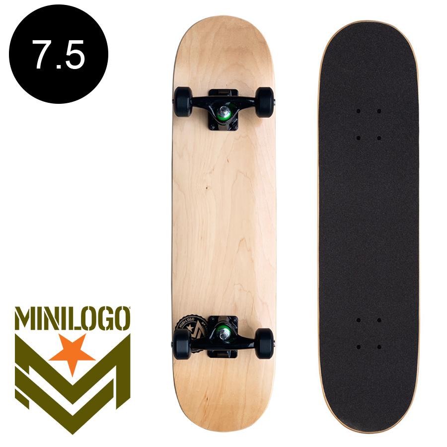 【MINI LOGO ミニロゴ】7.5in x 30.7in CHEVRON STAMP 2 SKATEBOARD COMPLETE NATURAL※7~10歳前後推奨 コンプリート(完成組立品) ナチュラル 木目 ブランク 無地 初めて オススメ 初心者 スケートボード スケボー sk8 skateboard 【2006】