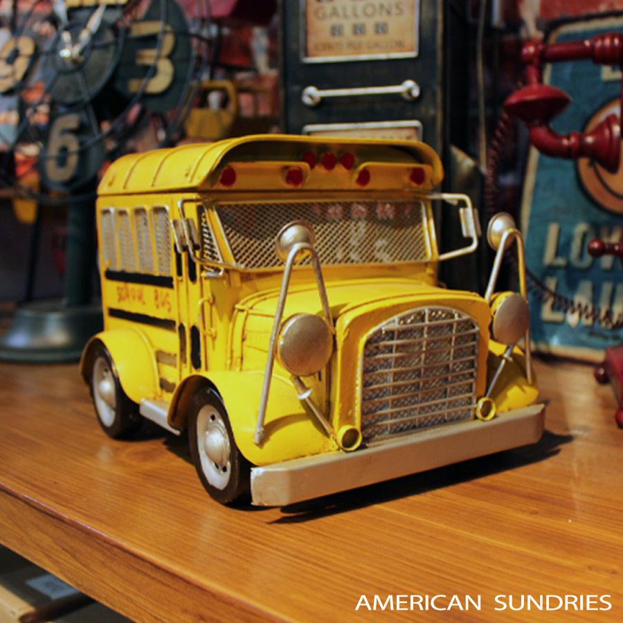 ブリキのおもちゃ 置物 アメリカン雑貨 ヴィンテージ オブジェ インテリア小物 レトロ スクールバス イエロー ミニカー レトロインテリア