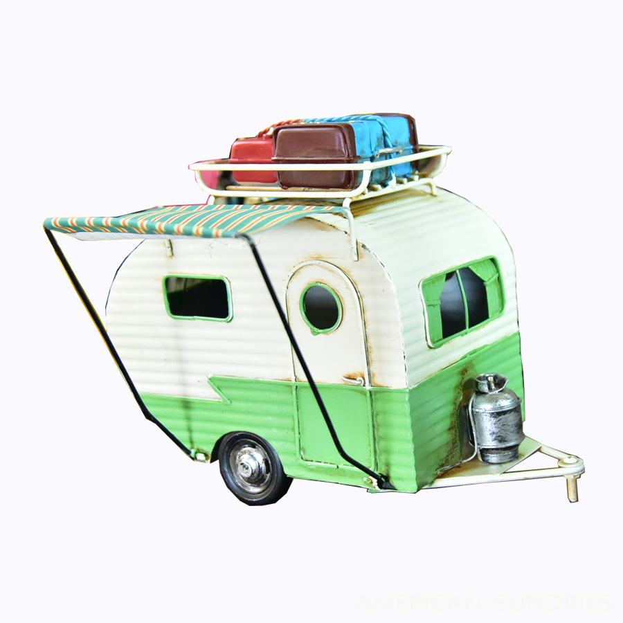 ブリキのおもちゃ 置物 アメリカン雑貨 ヴィンテージ オブジェ インテリア小物 レトロ アンティーク ブリキカー トレーラー コレクション キャンピングカー グリーン