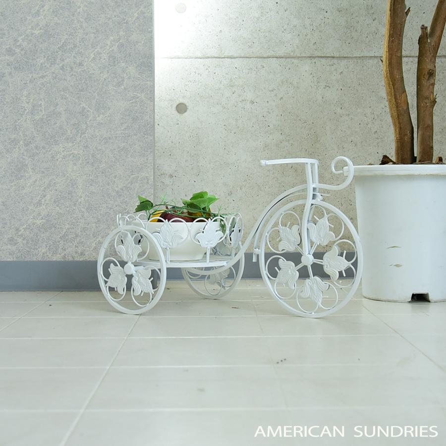 三輪車風 未使用 フラワーラック 自転車 アイアン アンティーク 花台 小物入れ スタンド pr3 ガーデニング 並行輸入品 プランター