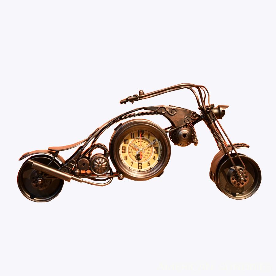 時計 置時計 アメリカン雑貨 雑貨 アメリカ雑貨 アンティーク レトロ オブジェ ビンテージ ガレージ バイク ブラック プレゼント