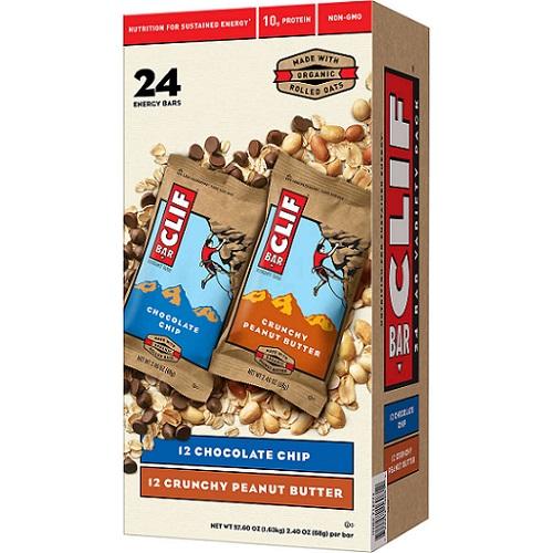 大豆由来のオーガニックプロテインバーClif Energy Bar Variety set クリフバー エナジー バラエティ パック 24 Bars (チョコレートチップ&クランチーピーナッツバター)