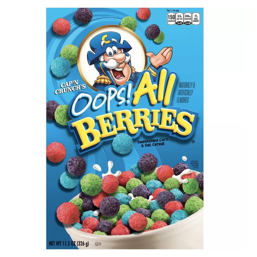 カラフルなシリアル お子様におすすめ Cap'n Crunch Oops All Berries Breakfast 10.3oz 高品質 293g 全品送料無料 Cereal キャプテンクランチ オールベリー スイートコーン オーツ シリアル