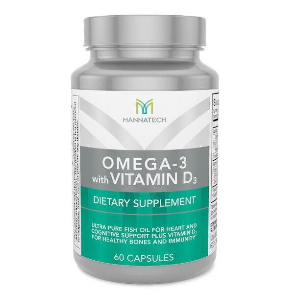 高濃度 高純度のフィッシュオイル オメガ3脂肪酸 Mannatech Omega-3 with 日本正規代理店品 Vitamin D3 バースデー 記念日 ギフト 贈物 お勧め 通販 ビタミンD3配合 60カプセル マナテック 60cap オメガ3
