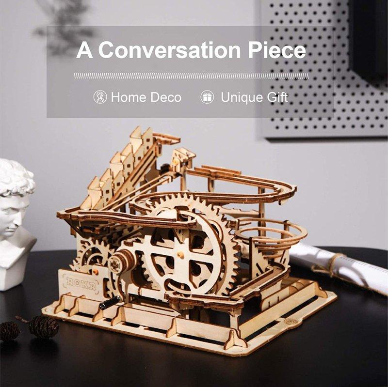 ROKR マーブルラン 水車コースター 3D木 アメリカーナ Run Marble 至上 アメリカーナがお届け 蔵 3D木製機械式組み立てパズル エンジニア