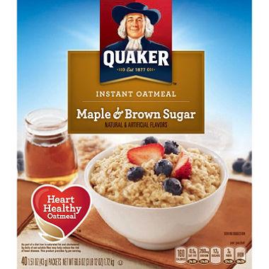 食物繊維たっぷり 小分けで使いやすい! 【お得パック】クエーカー インスタント オートミール メープル&ブラウンシュガー 43g×40袋入 / Quaker Instant Oatmeal Maple&Brown Sugar 40 packets