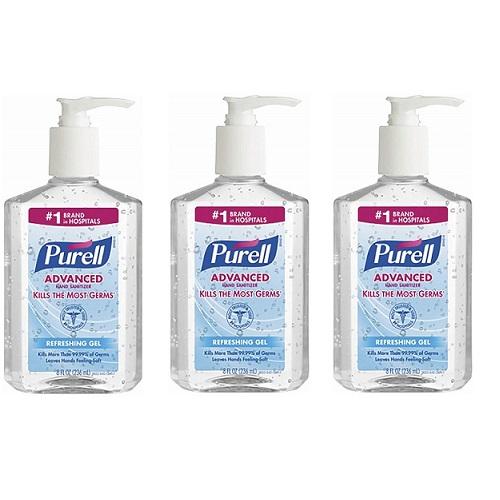 【お徳用3個セット】PURELL Instant Hand Sanitizer 8oz Pump Bottle by Purell アメリカ ピュレル ハンドサニタイザー抗菌化