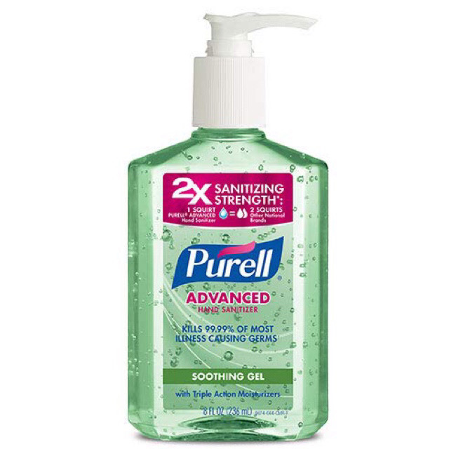 PURELL Advanced Hand Sanitizer Soothing Gel, Fresh scent, with Aloe and Vitamin E- 8 fl oz / アメリカ ピュレル ハンドサニタイザー 除菌ジェル アロエ配合 99.9% 除菌 抗菌 消毒 236 ml