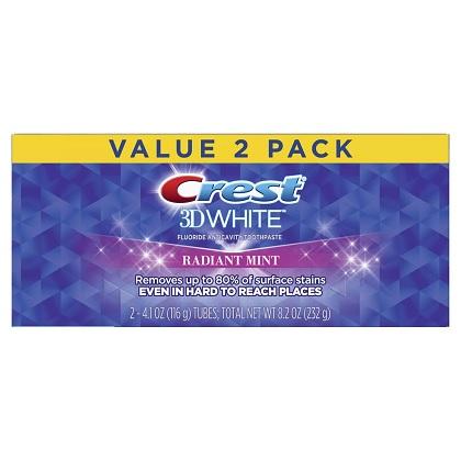 百貨店 オーラルケア先進国アメリカの定番商品 新パッケージ 送料無料 2本セット クレスト 3Dホワイト ラディアントミント Mint Crest 116g×2本歯磨き粉 Radiant White 3D 新入荷 流行
