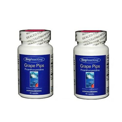 【お得な二本セット!】アレルギーリサーチグループ ブドウ種子エキス 90カプセル Allergy Research Group Grape Pips 90 Capsules Pack of 2