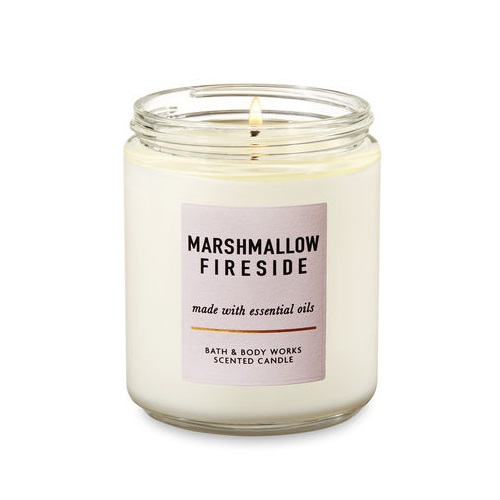 NEW BATH /& BODY WORKS MARSHMALLOW FIRESIDE SCENTED CANDLE 3 WICK 14.5 OZ LARGE