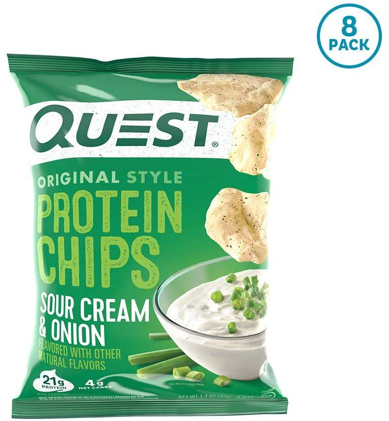 Quest Protein Chips SourCream & Onion 1.1oz クエスト プロテインチップス サワークリーム & オニオン 32g /8袋セット