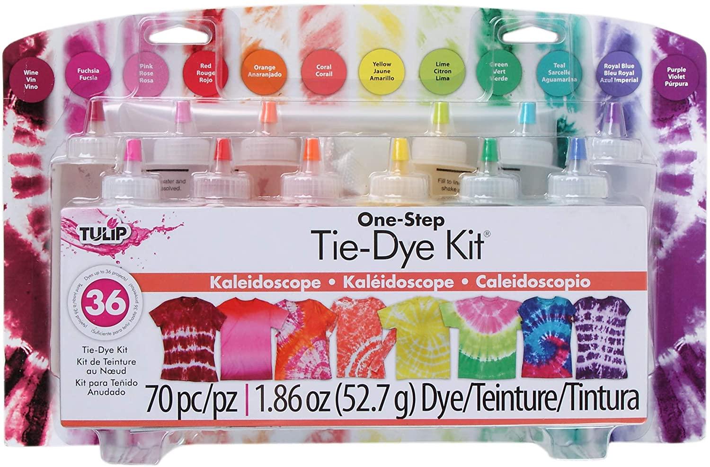 簡単にタイダイ染めができる お子様のプロジェクトにおすすめ Tulip One-Step Tie Dye Kit-Kaleidoscope チューリップ 染め 12色 気質アップ タイダイ ワンステップ キット 待望