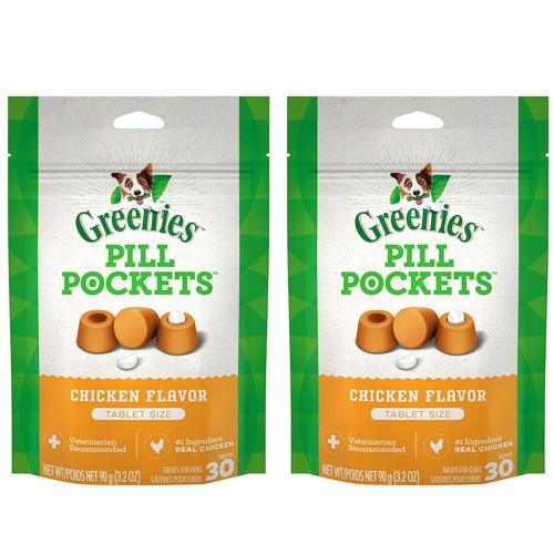 薬を飲むのが苦手なワンちゃんに! 【お得な2個セット】Greenies Pill Pockets for Dogs Chicken Tablet Size 3.2oz / グリニーズ ピルポケット 犬用 投薬補助のオヤツ [タブレットサイズ ・チキン味] 90g(約30個入り) 薬が苦手なワンちゃんに