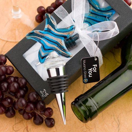 夏にぴったり ガラス製のワインボトルキャップ Murano Glass Starfish Design 流行のアイテム ムラーノグラス Stoppers スターフィッシュ Bottle 出色 ワインボトルストッパー Wine