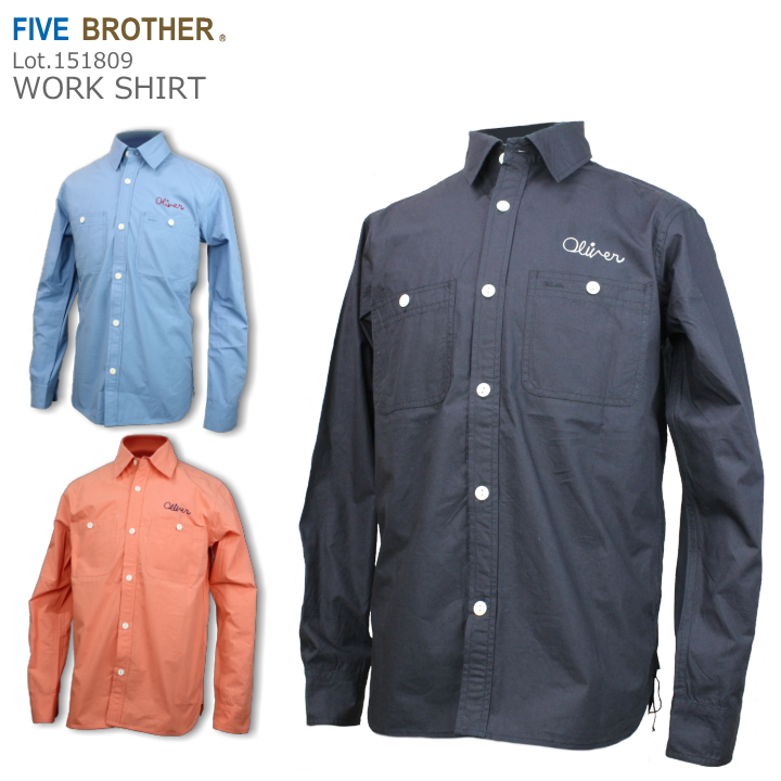 FIVE BROTHER ファイブブラザー 刺繍 ワークシャツ WORK SHIRT 151809 3color