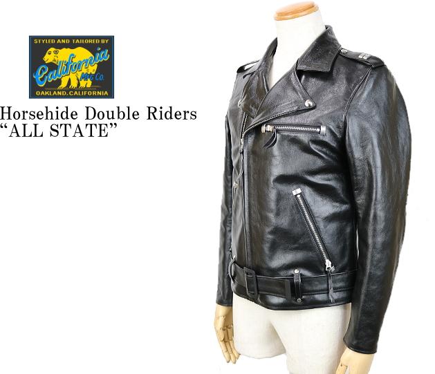 "RAINBOW COUNTRY レインボーカントリー Horsehide Double Riders Jacket""ALL STATE"" ホースハイド ダブルライダース ジャケット RCL-10064 BLACK"