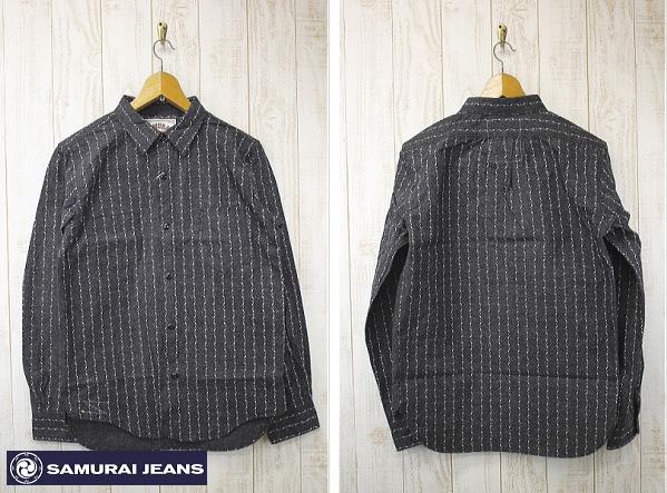 SAMURAI JEANS[サムライジーンズ] 撚り杢シャンブレー クナイウォバッシュワークシャツ ワークシャツ SWP14-L ブラック