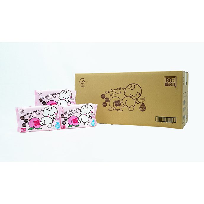 やわらかタオルベビーローション入80枚入×36個(1ケース)【日本製】【送料無料】
