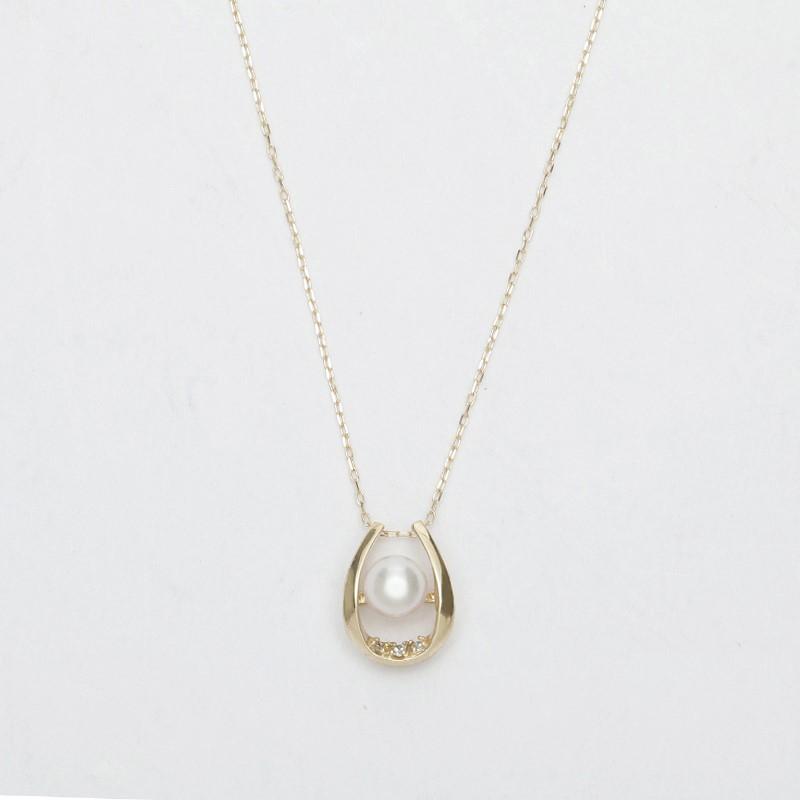 曲線的なフォルムにパールをあしらった優美なイメージのネックレス K10 パール ダイヤモンドネックレス YG 70%OFFアウトレット P23 ギフト パールネックレス qikara 送料無料 真珠ネックレス メーカー直送