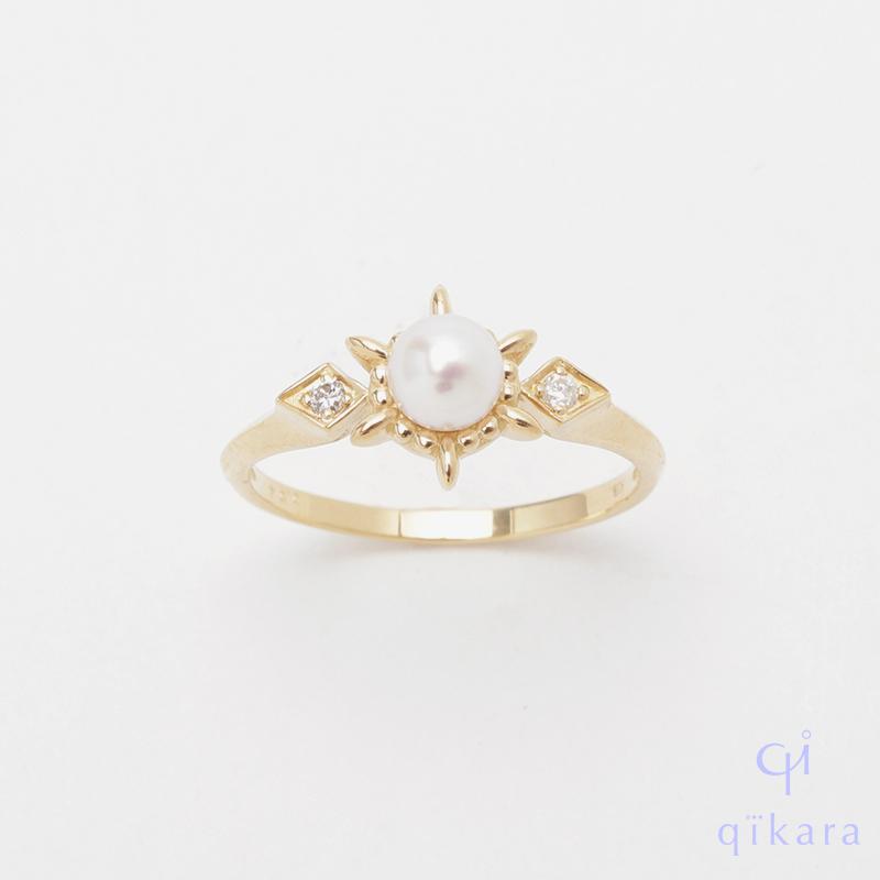 特別セール品 華美なフォルムがパールを際立たせるこだわりのデザイン K10 お気にいる パール ダイヤモンドリング YG R57 真珠リング パールリング qikara ギフト 送料無料