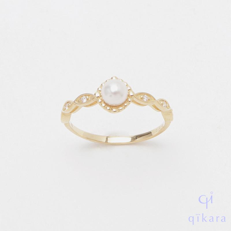 一点物のアンティークのような雰囲気が特徴的なリング K10 パール ダイヤモンドリング YG 至上 R55 ギフト パールリング 送料無料 真珠リング qikara オンライン限定商品