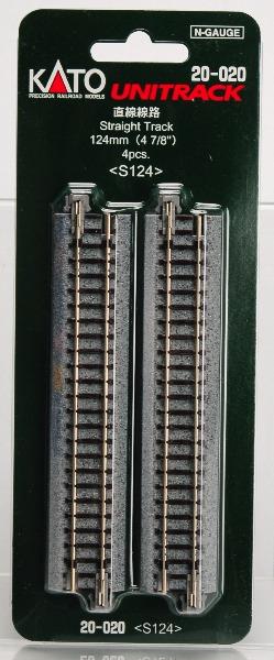 20-020 直線線路124mm (4本入)[KATO]《取り寄せ※暫定》