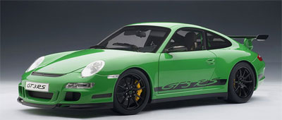 ダイキャスト・モデルカー 1/12 シグネチャーシリーズ ポルシェ911(997)GT3 RS(グリーン/ブラックストライプ)[オートアート]《取り寄せ※暫定》