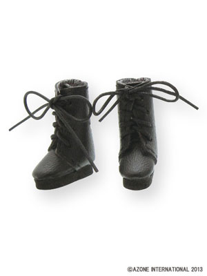 Picco Neemo Wear 1/12 Lace Up Short Boots Black (DOLL ACCESSORY)(Released)(ピコニーモウェア 1/12 レースアップショートブーツ ブラック(ドール用小物))